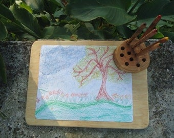 Waldorf wooden painting & drawing board with wooden pencil holder / Waldorf painting board