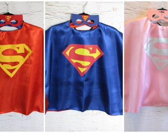 Sale- Superman, and Super girl Super Hero Capes and Masks for Boy and Girls or Halloween Costumes