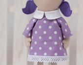 Girl Doll Clothes Lilac White Dotted Cotton Dress 12 inches doll Violet Dress White Collar White Lace - Fit My 12 inch Fashion Dolls