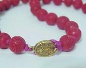 Vintage Chinese SHOU Longevity Cinnabar Bead Necklace 19th Century