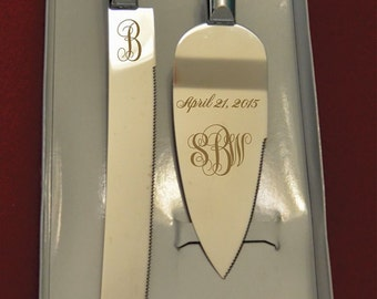 Monogram  Initials  Wedding Cake Knife and Server with Initials and Date FREE