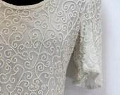 SALE 50% off Vintage Reception Dress LG Beaded Knee Length Dress - Trophy Dress