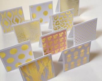 Set of 10 // 3x3 Mini Gold Foil Note Cards // Mini Note Cards // Mini Envelopes // Gold Foil Cards // Mini Note Card Set // Mini Cards