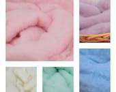 2 Basket Stuffers, Set of 2 Wool Fluff Basket Liners, Wool Fluffs, Newborn Photography Prop, 100% Perendale Wool Carded Batts, Wool Layer