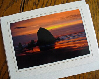 Sunset Oregon Cannon Beach Haystack Rock, Eco-Friendly Birthday Card, All Occasion, Blank Greeting Card, Photo Card