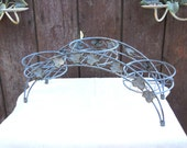 Vintage French Farmhouse Arch Tier Wire Stand Tole Ivy Leaf Galvanized Planter Rustic Cottage Metal Basket Mid Century Industrial Garden