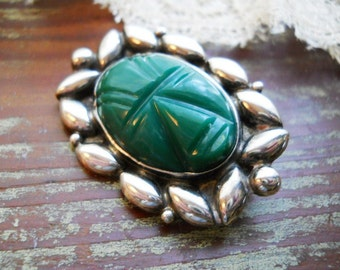 Vintage 1940s Art Deco Large Botanical Modernist Egyptian Revival Sterling Silver Repousse Brooch Pin Carved Green Onyx Stone Mayan Face