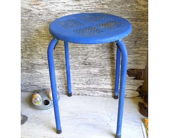 Mid Century Danish Modern Industrial Perforated Metal Tubular Vintage 1960s Patio Cafe Kitchen Stool Display Country Farmhouse Plant Stand