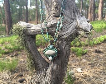 OOAK Beaded River Rock Necklace