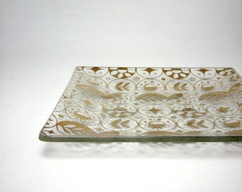 Mid Century Modern Georges Briard Glass Tray Coffee Table Dish