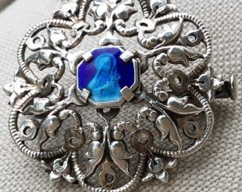 French catholicart deco Sainte Therese/ saint Theresa blue enamel 1930s art deco french silver pin/brooch carmelite nun