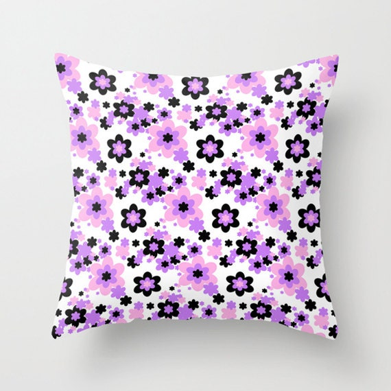 Pink Purple Black Floral Throw Pillow Covers Teen by decampstudios