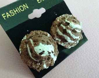 Rocky Road Icecream Scoop Post Earrings