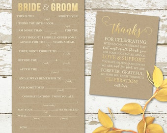 Wedding Mad Libs Advice Card and thank you card - Printable Design - Instant Download - fall wedding or rustic country wedding printables