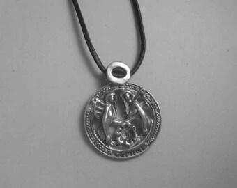 Gemini zodiac sterling silver 925 charm pendant necklace horoscope zodiaque pendants