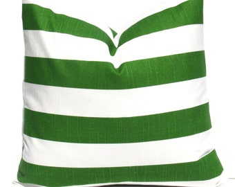 Decorative Pillow Cover Green Pillow Kelly Green Pillow Accent Pillow  Toss pillow 18x18 Stripes Home Decor Cushion Cover Green pillow case