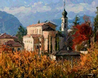 "MONASTERY. CHRISTIAN CHURCH. Autumn Landscape 16x20"" with mat frame. Painting on giclee canvas. Impressionism."