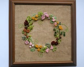 fibre art wall hanging  textile picture ribbon embroidery