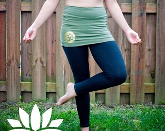 Skirted Leggings / Cotton Lycra Skirted Legging / Yoga Pants with skirt / ohm / flower of life / triple moon goddess /