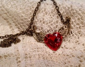 Valentine's Heart Necklace Winged Heart Necklace Red Heart Necklace