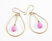 Fuchsia teardrop earrings, pink stone hoop earrings, teardrop and chain earrings, golden teardrops with gemstones, pear loop, magnesite