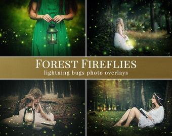"Fireflies photo overlays ""Forest Fireflies"", 16 different kinds of photo overlays for Photoshop, overlays for Photographers"