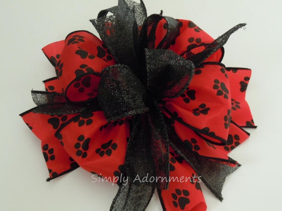 Red Black Paw Print Wreath Bow Animal Lovers Gift Bow Paw Print Gift Bow Paw Print Theme Party Decoration Bow Dog Cat Birthday Party Decor