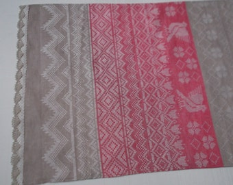 Organic linen towel  natural gray off red kitchen etnic towel hand towel with lace in folk style guest towel