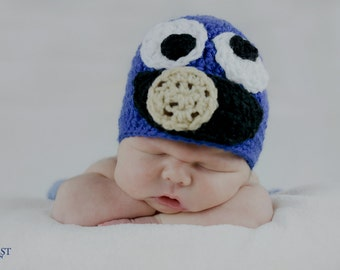 Cookie Monster Inspired Crochet Hat - Made To Order