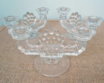 1940's Fostoria American - Double Candleholders - Cubist Geometric - 2056 Line - Designer Glassware Candleholders - Perfect