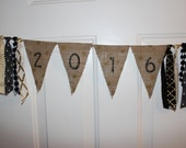 2016 Gold & Black Art Deco Graduatio Burlap Banner Fabric Garland Rag Tie Banner Party Decoration, Photo Prop Backdrop, Tailgating