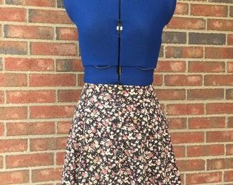 Vintage Floral Button Front Mini Skirt 90's Next Era juniors size 3