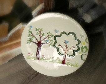 Woodland Jewelry Dish White Ceramic Plate Little Blue Bird and Tree Dish Colorful Home Decor Pottery Plate Recycled Box
