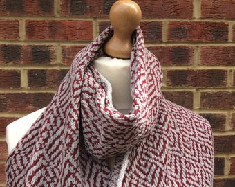Knitted Cashmere  Shawl - Red and Grey Wrap - Mens Cashmere scarf- Cashmere   Shawl - Fair Isle Cashmere Scarf - Handmade Cashmere Scarf