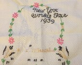 1939 NY World's Fair Hand Embroidered Tea Towel - OOAK