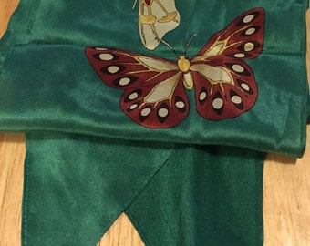 Long Green Scarf with Butterflies