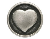 30 Small Heart 5/8 inch ( 15mm ) Metal Buttons Silver Color