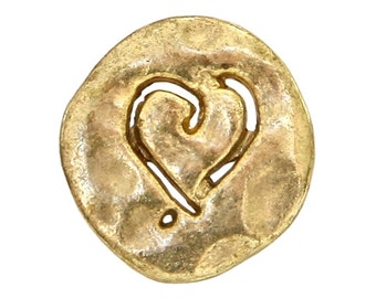 12 Etched Heart 5/8 inch ( 15 mm ) Metal Buttons Antique Gold Color