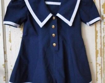 ON SALE Vintage Bonny Jean Sport Navy Blue & White Sailor Jumpsuit, Shorts, Size 6, Short Sleeve, Nautical, Girls Sailor Suit, Made In USA,