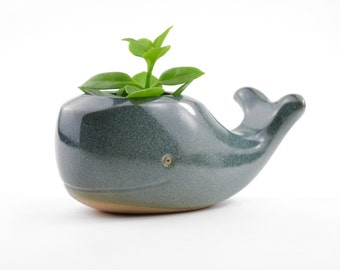 Whale - ceramic planter, animal planter - blue - made in Brazil