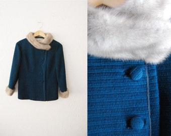 Vintage 1960s Teal Blue Grey Mink Fur Trim Collar Fitted Coat Jacket