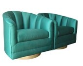 Pair of Emerald Green Club Chairs on Brass Swivel Bases