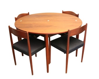 Mid Century Teak Folding Dining Table and Chairs