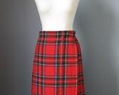 Plaid Wrap Skirt / Vtg 60s / Deons of Scotland Red Wool Plaid Wrap skirt / Kilt / Long Red Skirt /
