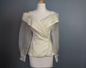 Dramatic Organza Blouse / Vtg 80s / Portrait Collar Wrap Style Ivory Organza Blouse / Sheer Sleeves / Rhinestone cuffs