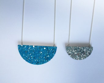Glittery Semi Circle Necklace