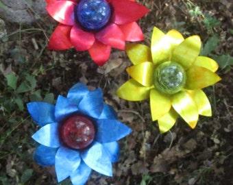 Set of 3 (Yellow, Blue and Red) Aluminum Flower Walkway or Garden  Solar Light