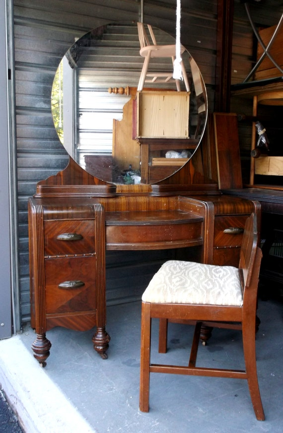1920 S Art Deco Waterfall Vanity With Mirror And Seat