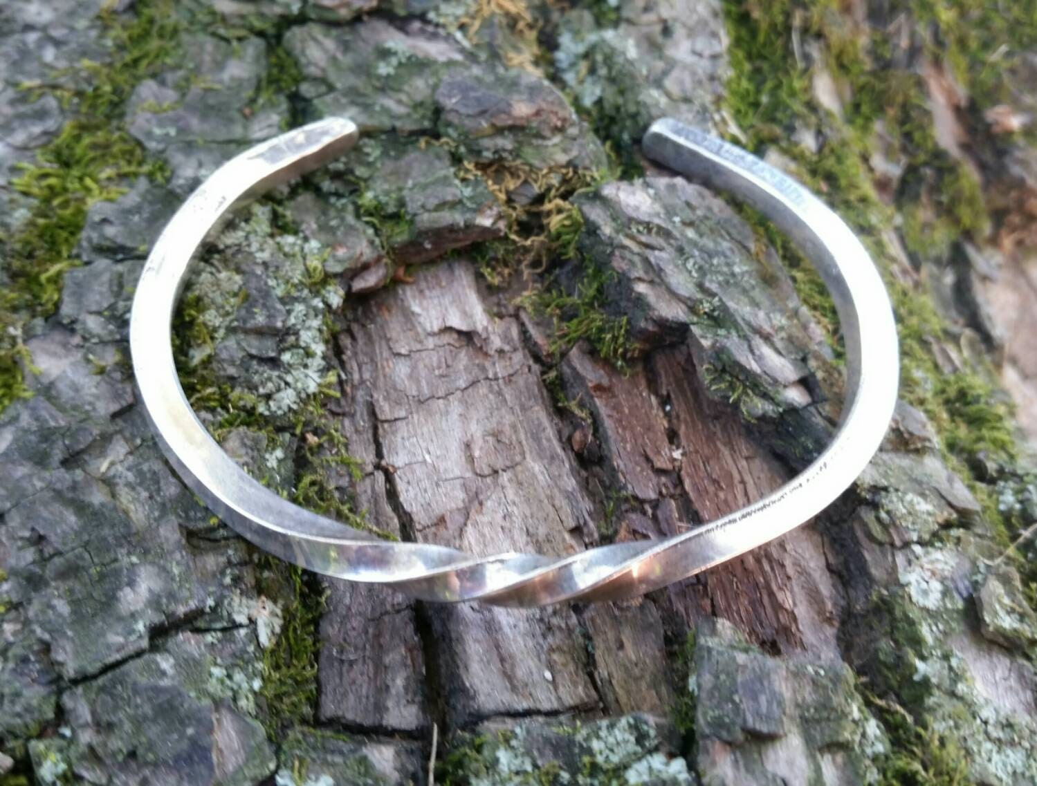 Hand Forged Sterling Silver Cuff Bracelet- 8 gauge ...
