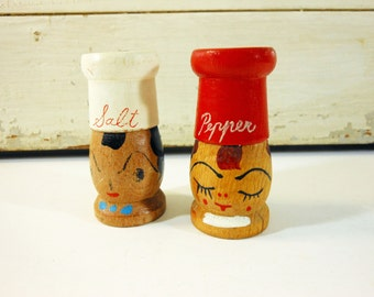 Vintage Red and White Wooden Chef Salt and Pepper Shakers